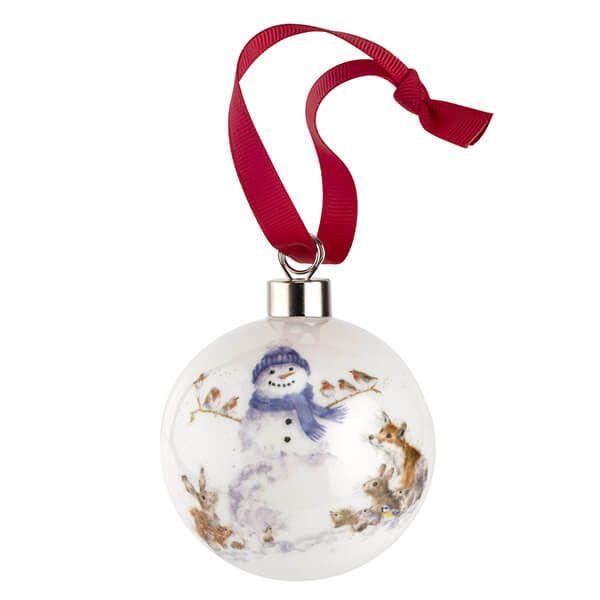 Wrendale Designs Ceramic Christmas Decoration Gathered All Around Snowman