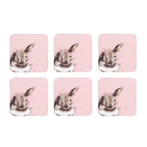 Wrendale Designs Set of 6 Pink Rabbit Coasters