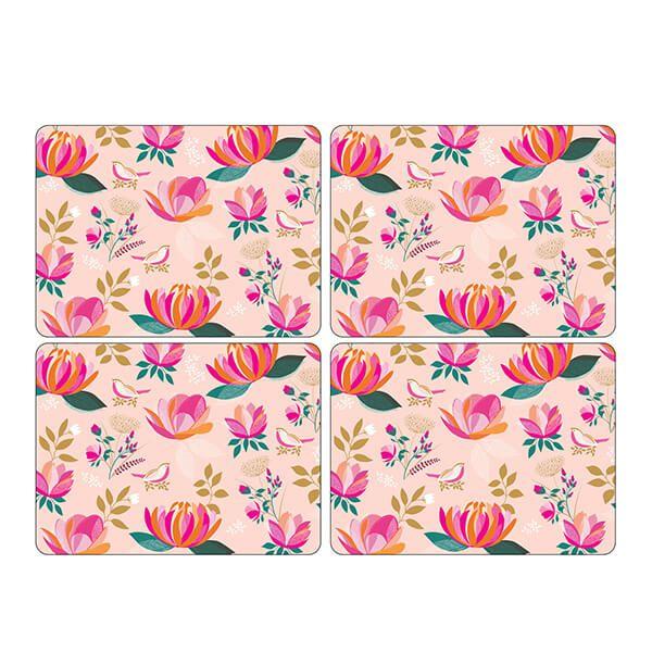 Sara Miller Peony Collection Set of 4 Pink Placemats
