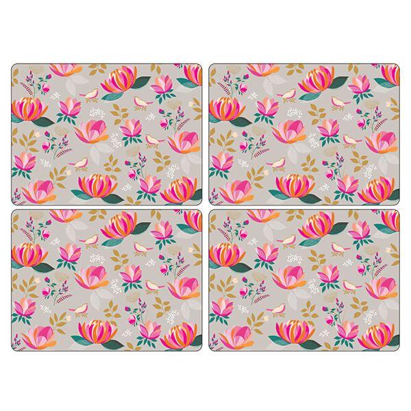 Sara Miller Peony Collection Set of 4 Grey Large Placemats