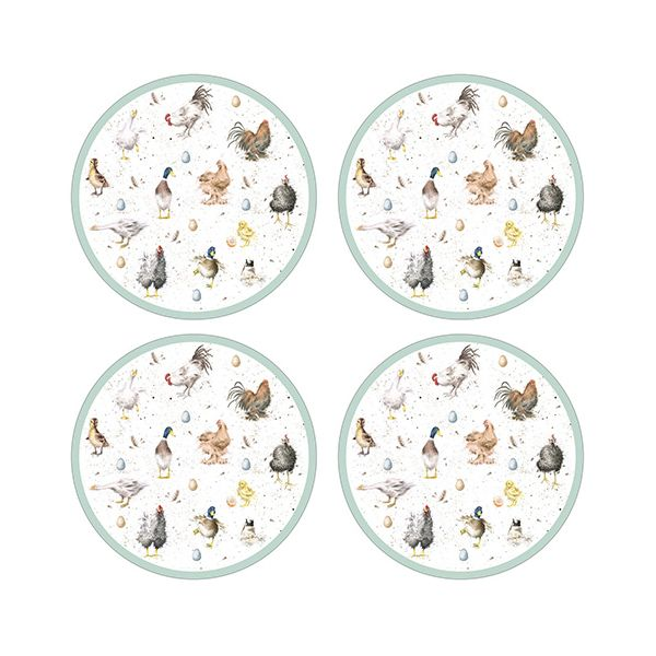 Wrendale Designs Farmyard Friend Round Placemats Set Of 4