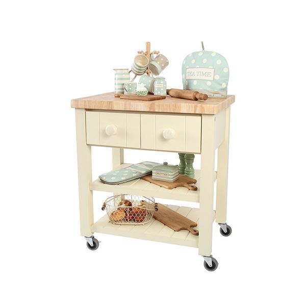 T & G New England Cream Hevea with Hevea Top Kitchen Trolley Fully Assembled