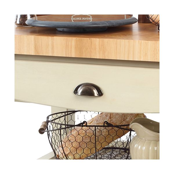 T & G Distressed Finish Pembroke Cream Kitchen Trolley Flat Packed