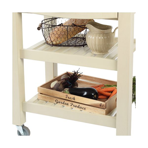 T & G Distressed Finish Pembroke Cream Kitchen Trolley Fully Assembled