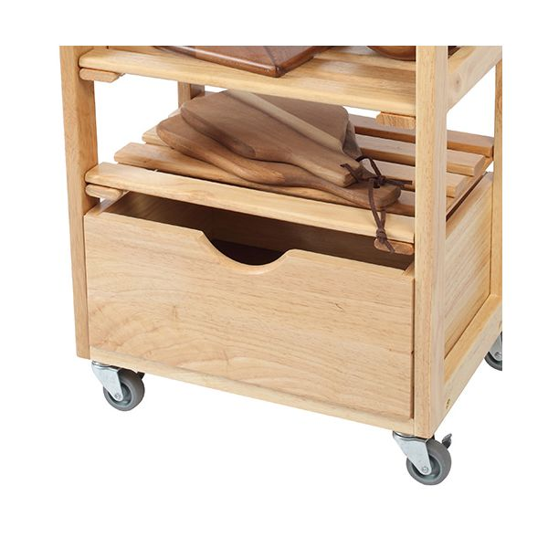 T & G Hevea Wood Compact Kitchen Trolley Fully Assembled