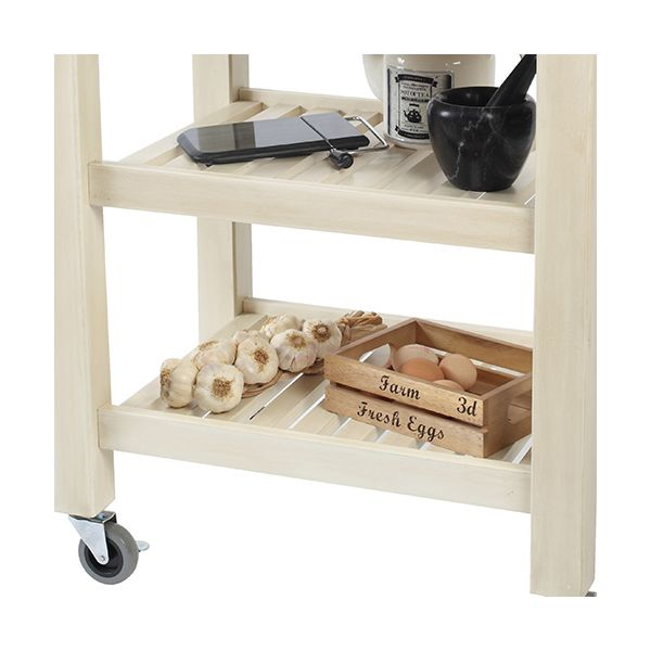 T & G Distressed Finish Pembroke Cream Kitchen Trolley Acacia Top Flat Packed