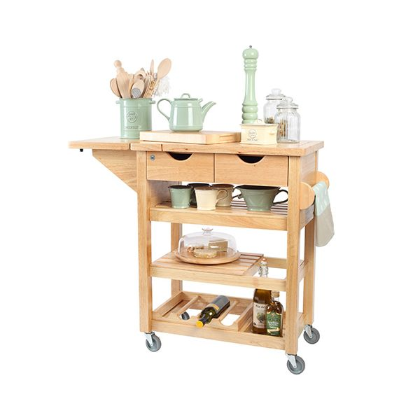 T & G Hevea Wood Viva Kitchen Trolley Flat Packed