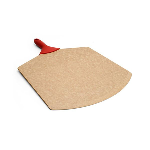 "Epicurean Signature Wood Composite 21"" x 14"" Natural Pizza Peel With Red Silicone Handle Pizza Peel"