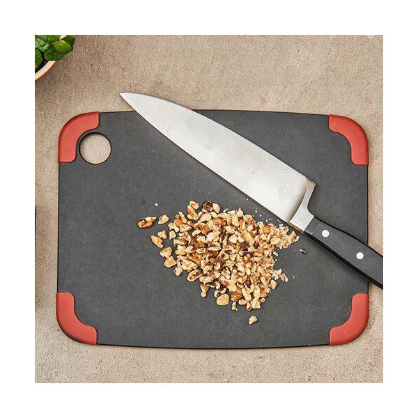 "Epicurean Signature Wood Composite Non-Slip Series 11.5"" x 9"" Slate / Red Corners Cutting Board"