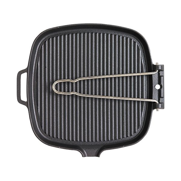 Chasseur Cast Iron Matt Black Square Smooth Base Grill Pan With Fold Away Wire Handle