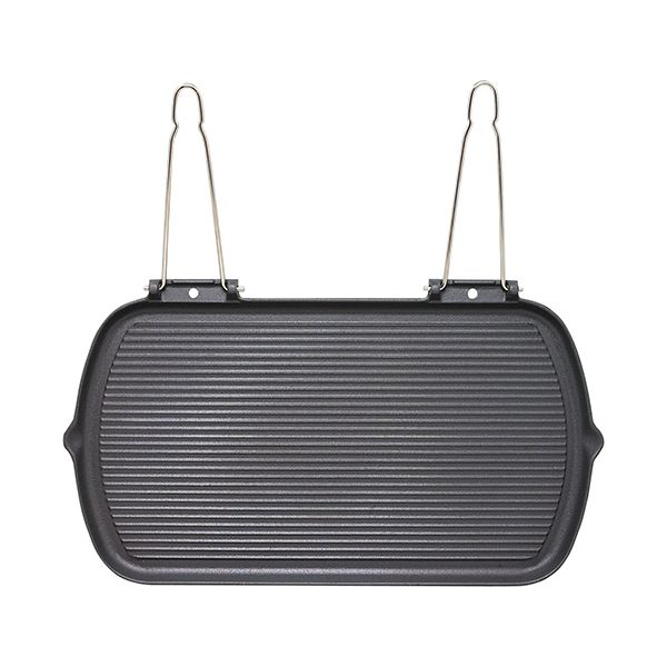 Chasseur Cast Iron Matt Black Rectangular Smooth Base Grill Pan With Twin Fold Away Wire Handles