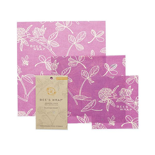Bee's Wrap Clover Print Set Of 3 Assorted Size Wraps