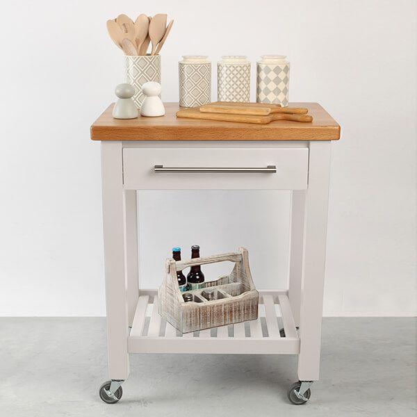 T & G Studio White Hevea With Oak Top Kitchen Trolley Flat Packed