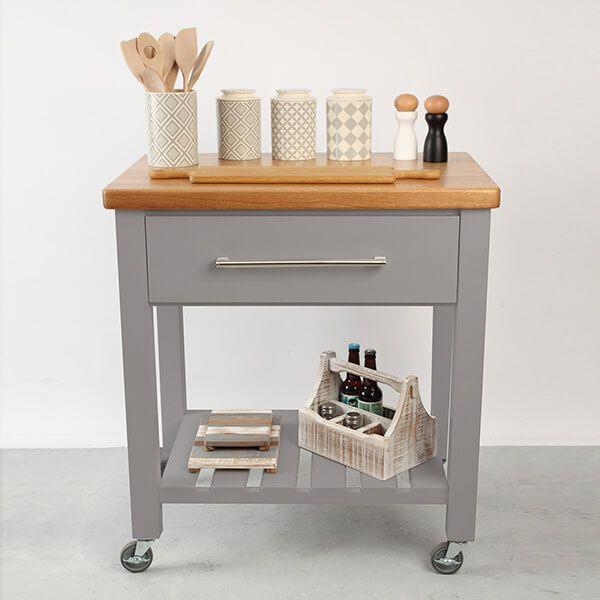T & G Loft Grey Hevea With Oak Top Kitchen Trolley Flat Packed