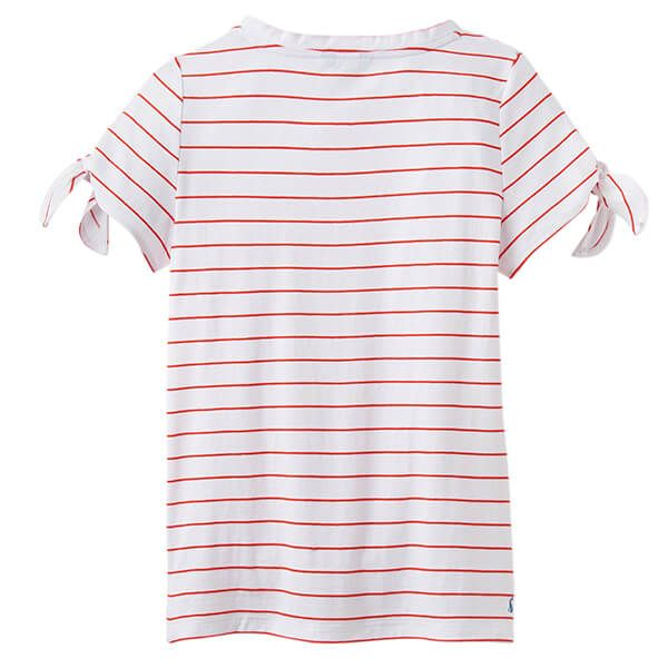 Joules Tiggy White Red Stripe Tie Sleeve Jersey Top