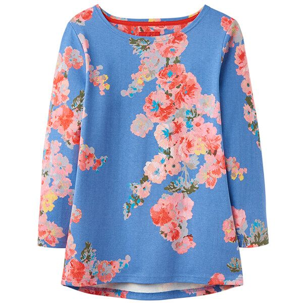 Joules Harbour Print Blue Floral Printed Jersey Top