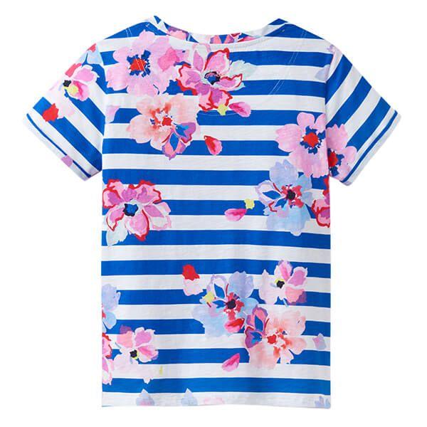 Joules Nessa Print Blue Stripe Floral Lightweight Jersey T-Shirt