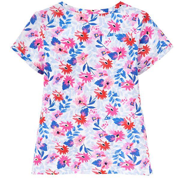 Joules Nessa Print White Multi Floral Lightweight Jersey T-Shirt