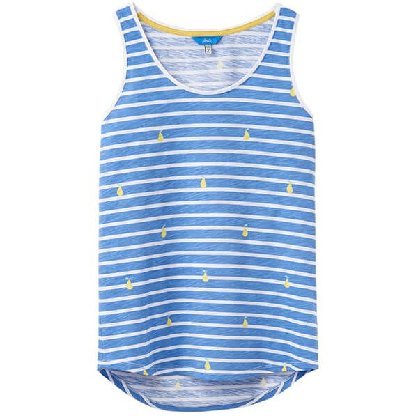 Joules Bo Print Blue Pear Stripe Printed Jersey Vest