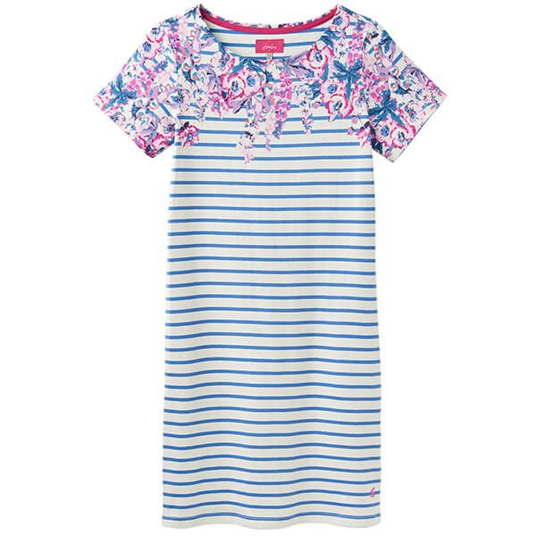 Joules Riviera Print Blue Floral Stripe Printed Dress With Short Sleeves
