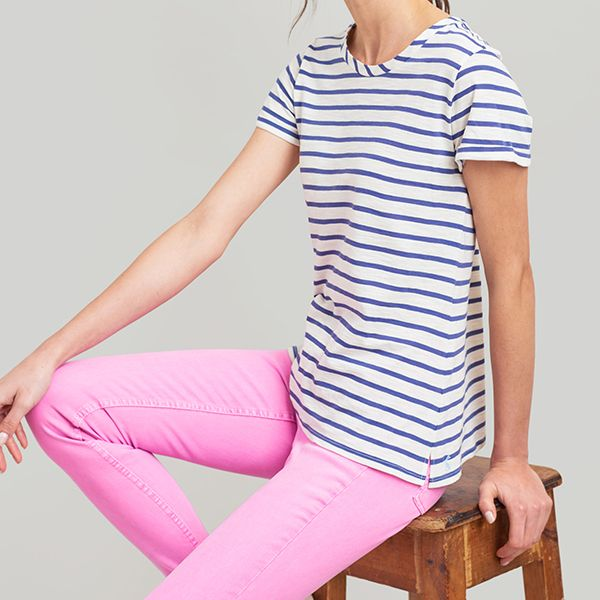 Joules Nessa Stripe Cream Blue Stripe Lightweight Jersey T-Shirt