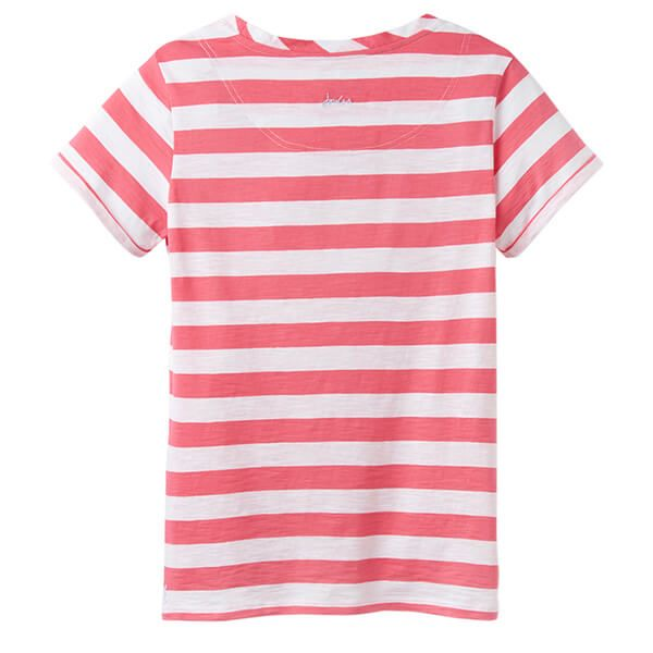 Joules Nessa Stripe Pink White Stripe Lightweight Jersey T-Shirt