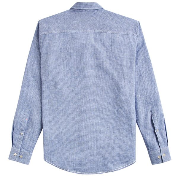 Joules Linen Classic Blue Houndstooth Long Sleeve Classic Fit Linen Mix Shirt