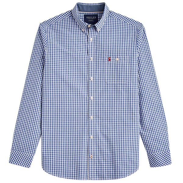 Joules Hewney Blue White Gingham Long Sleeve Classic Fit Peached Poplin Shirt