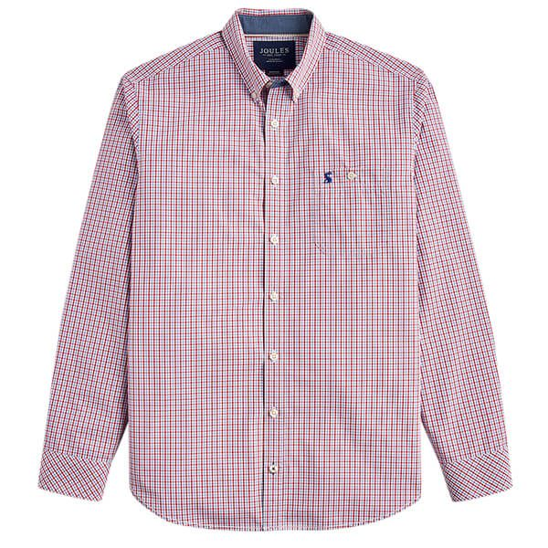 Joules Hewney Red Blue Gingham Long Sleeve Classic Fit Peached Poplin Shirt