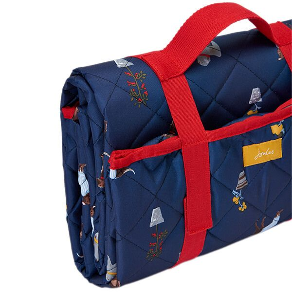 Joules Blue Dogs Water Resistant Fold Up Printed Picnic Rug