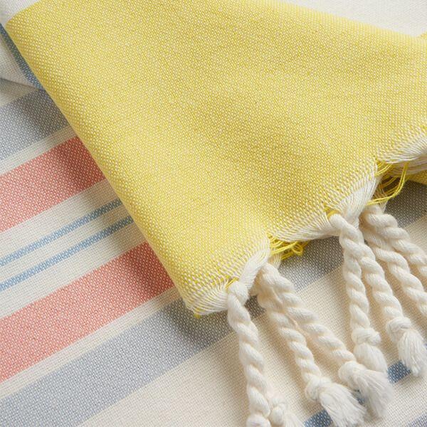 Joules Cream Orange Stripe Beach Cotton Blanket