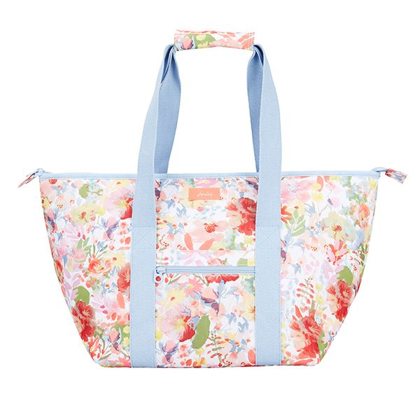 Joules White Floral Fully Insulated Picnic Tote Bag