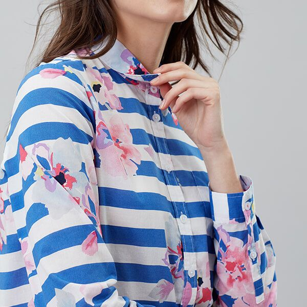Joules Lucie Blue Stripe Floral Printed Woven Shirt