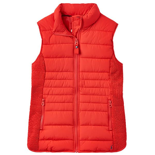 Joules Fallow Red Padded Gilet With Funnel Neck