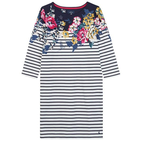 Joules Riviera Print Anniversary Border Floral 3/4 Sleeve Jersey Dress