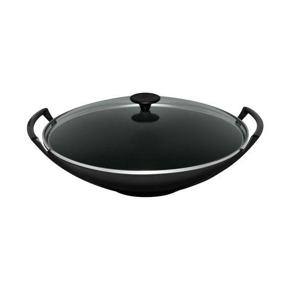 Le Creuset Satin Black Cast Iron 32cm Wok and Glass Lid