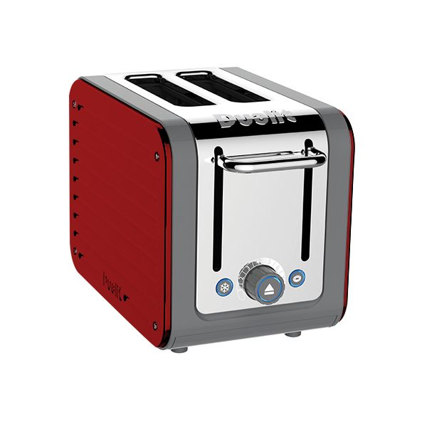 Dualit Architect 2 Slot Grey Body With Apple Candy Red