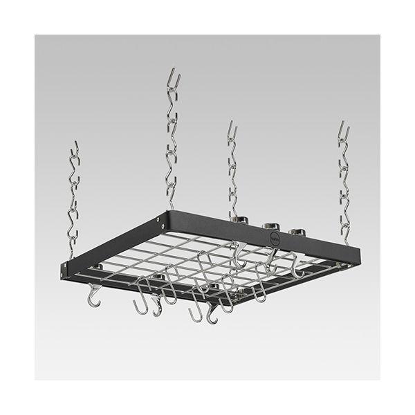Hahn Black / Chrome Metal Square Ceiling Rack