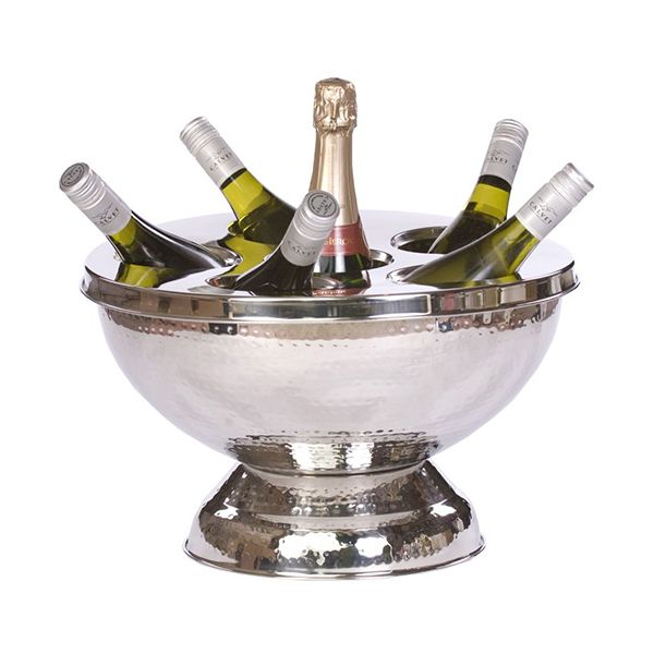 Epicurean Hammered Steel 6 Bottle Champagne / Wine Cooler
