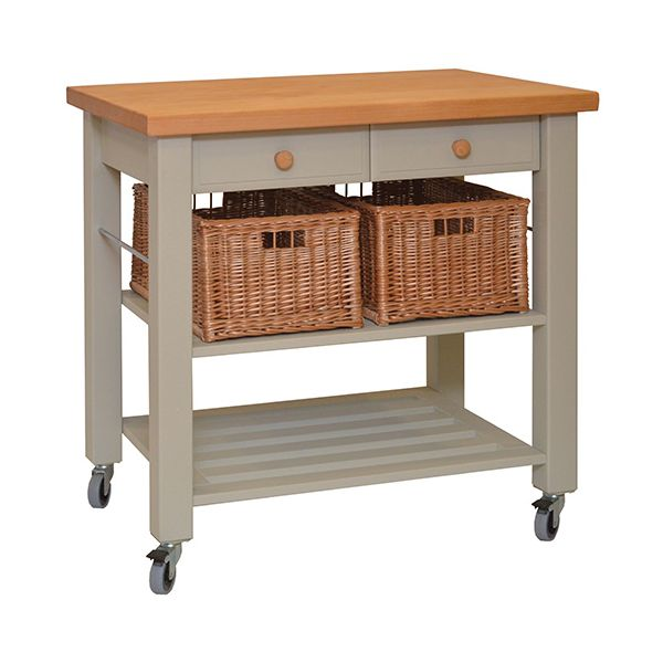 Eddingtons Lambourn Two Drawer French Grey Kitchen Trolley with FREE Gift