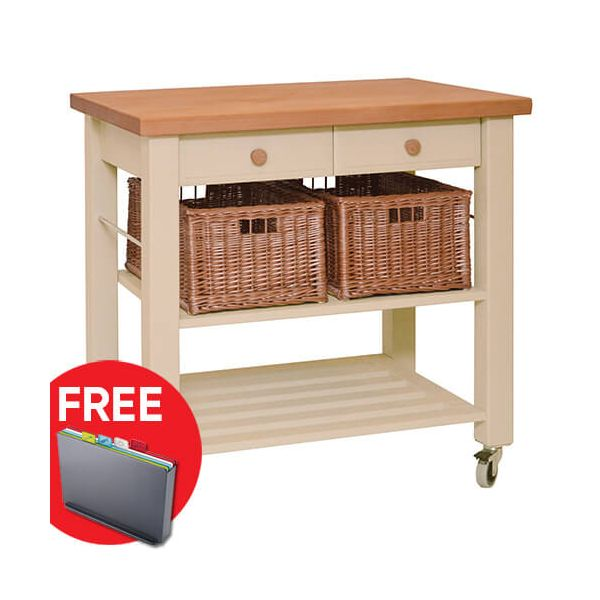 Eddingtons Lambourn Two Drawer Buttercream Kitchen Trolley with FREE Gift