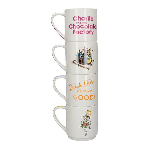 Roald Dahl Charlie And The Chocolate Factory Set Of 4 Stacking Mugs