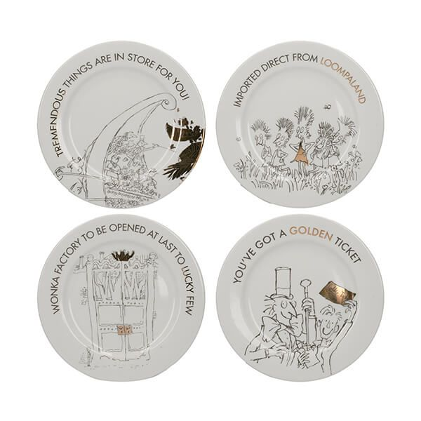 Roald Dahl Charlie And The Chocolate Factory Set Of 4 Side Plates