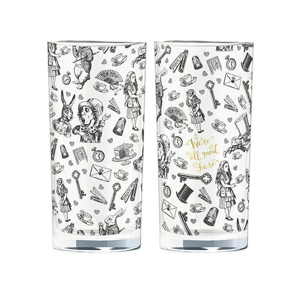 Alice In Wonderland Set Of 2 High Ball Glasses