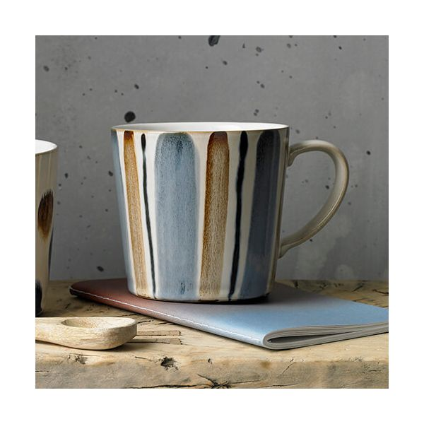 Denby Brown Stripe Painted Large Mug
