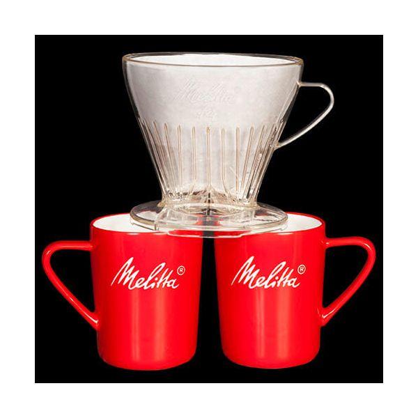 Melitta Premium Transparent Filtercone 1x4 & 2 Porcelain Mug Set