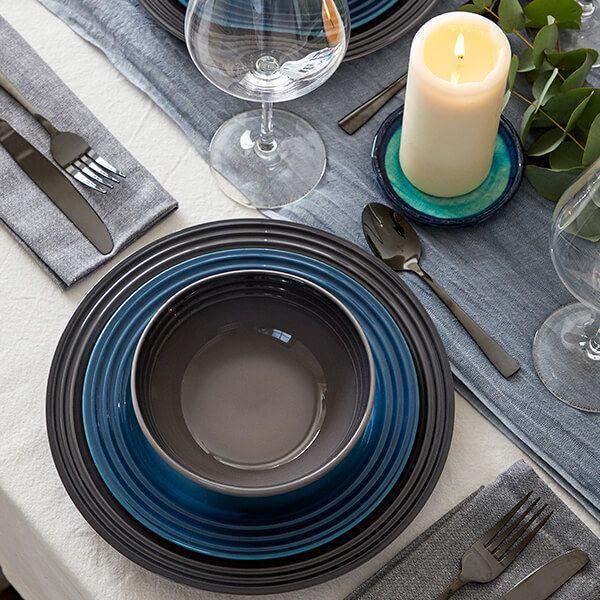 Le Creuset Flint Stoneware 27cm Dinner Plate 4 for 3
