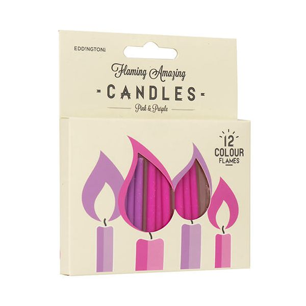 Eddingtons Pink & Purple Flaming Amazing Candles Pack Of 12