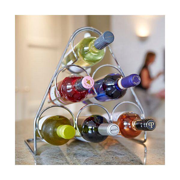 Hahn Pisa Chrome Pyramid Wine Rack - 6 Bottle