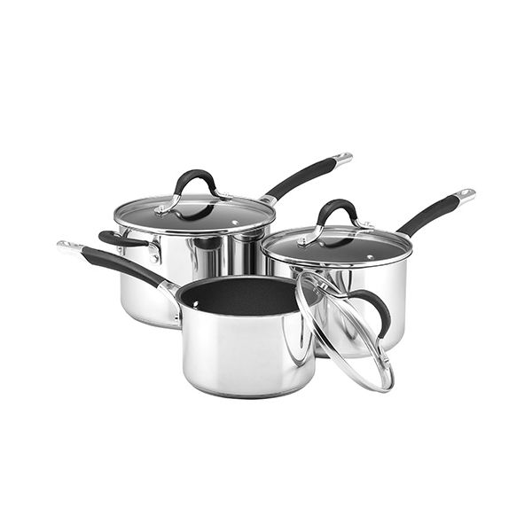 Circulon Momentum Stainless Steel 3 Piece Saucepan Set